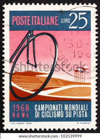 ITALY - CIRCA 1968: a stamp printed in the Italy shows Bicycle Wheel and Velodrome, Bicycling World Track Championships at the Velodrome in Rome, circa 1968