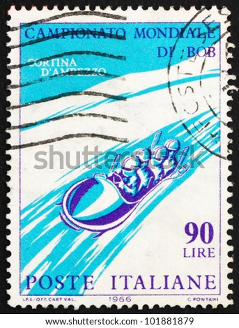 ITALY - CIRCA 1966: A stamp printed in the Italy shows Four-Man Bobsled, International Bobsled Championships Cortina d'??Ampezzo, circa 1966