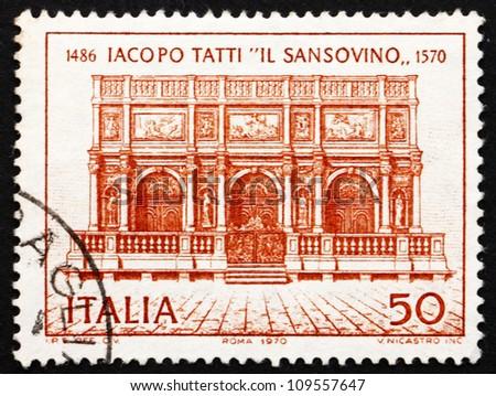 ITALY - CIRCA 1970: a stamp printed in the Italy shows Loggia of St. Mark's Campanile, Venice, by Iacopo Tatti ,Il Sansovino, Architect, circa 1970