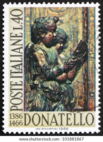 ITALY - CIRCA 1966: A stamp printed in the Italy shows Singing Angels, by Donatello, sculptor, circa 1966