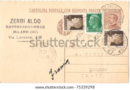 "ITALY - CIRCA 1931: A vintage used Italian envelope (campaign poster) and stamps showing with inscription ""Italy. Milan. Emperor Augustus"", series, circa 1931"