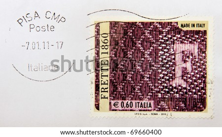 ITALY - CIRCA 2011: Italian postage stamp with Pisa postmark, promoting Italian style and quality, in particular FRETTE household and domestic linen goods, Italy, circa 2011.