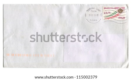 ITALY - CIRCA 2012: Mailing envelope with postage stamps dedicated to Italian Post, circa 2012. - stock photo