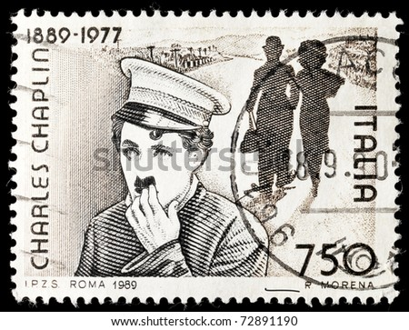 ITALY - CIRCA 1989: Stamp printed by Italy celebrating 100 years from the birth of Charles Chaplin circa 1989.