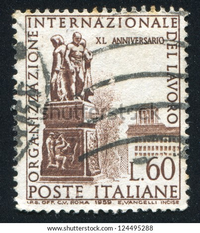 ITALY - CIRCA 1959: stamp printed by Italy, shows Labor Monument, Geneva, circa 1959