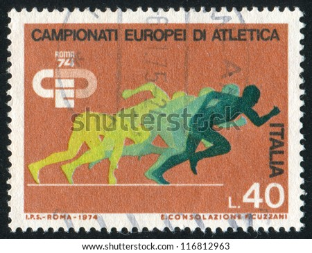 ITALY-CIRCA 1974: stamp printed by Italy, shows Sprinters, circa 1974