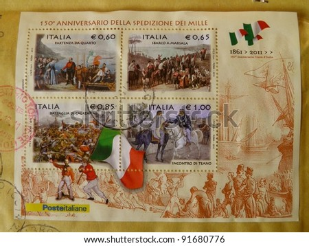 ITALY-CIRCA 2011: 150th anniversary of Italy (1861-2011) is celebrated by depicting some historical facts which lead to political unity on a series of mail stamps in Italy, circa 2011