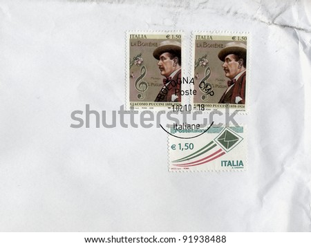 "ITALY, CIRCA 2008 - the 100th of Giacomo Puccini's opera ""La Boheme"" is celebrated with a commemorative stamp issued in Italy circa 2008"