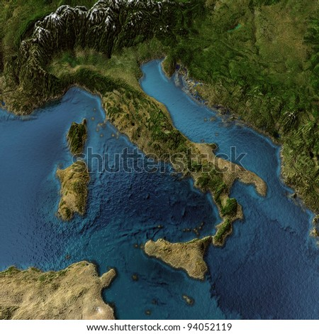 Italy. 3d landscape with shadows, transparent water - stock photo