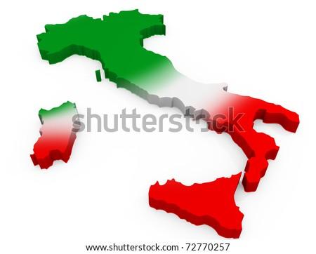 Italy 3D Map as the italian Flag