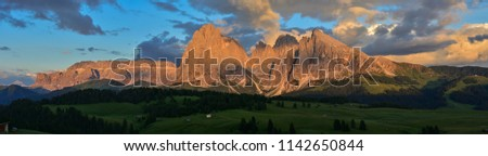 Italy Dolomites Alpe di Siusi Plattkofel Langkofel sunset panorama #1142650844