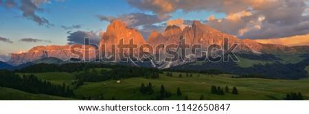 Italy Dolomites Alpe di Siusi Plattkofel Langkofel sunset panorama #1142650847