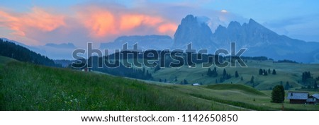 Italy Dolomites Alpe di Siusi Plattkofel Langkofel sunset panorama #1142650850