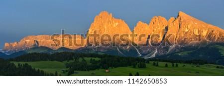 Italy Dolomites Alpe di Siusi Plattkofel Langkofel sunset panorama #1142650853