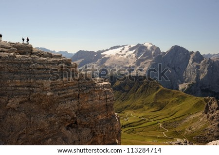 Italy - Dolomites. Mountains view from Pordoi - stock photo