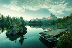 Italy, Dolomites - the beautiful lake at dawn to reveal a bluish green world