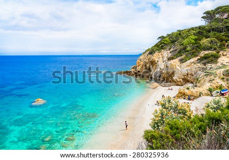 Italy, Elba island, panoramic view of beautiful beach.Elba island, Tuscany, Italy.