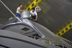Italy, Fiumicino (Rome),  Boatyard, luxury yacht under construction