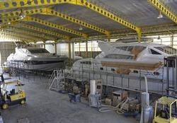 Italy, Fiumicino (Rome), Boatyard, luxury yachts under construction