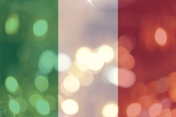 Italy flaf light night bokeh abstract background