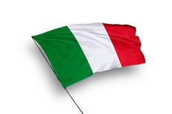 Italy flag isolated on white background with clipping path. close up waving flag of Italy. flag symbols of Italy.