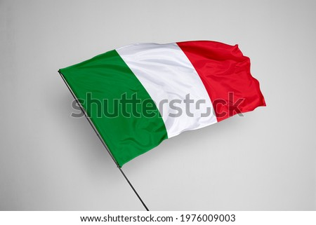 Italy flag isolated on white background with clipping path. close up waving flag of Italy. flag symbols of Italy. Italy flag frame with empty space for your text.