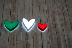 Italy Flag Love Heart Design. Heart shaped icons in colors of Italian flag; white, red and green. Love Italy, Love Italian Food concepts.