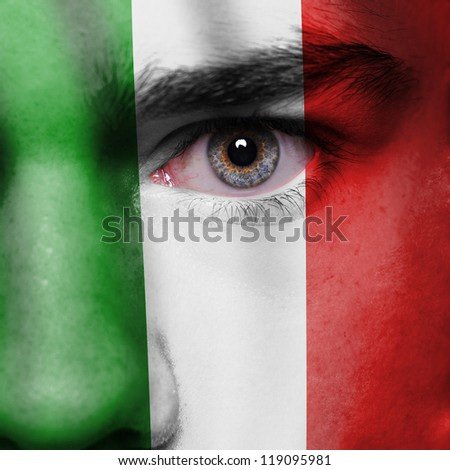 Italy flag painted on face