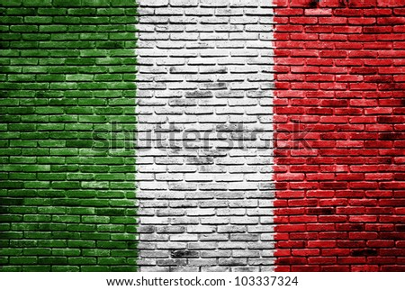Italy flag painted on old brick wall texture background