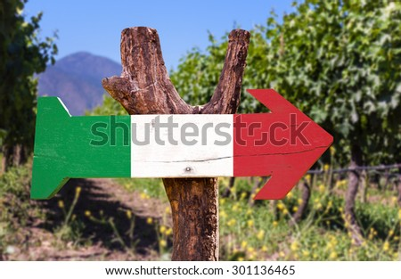 Italy Flag wooden sign with winery background