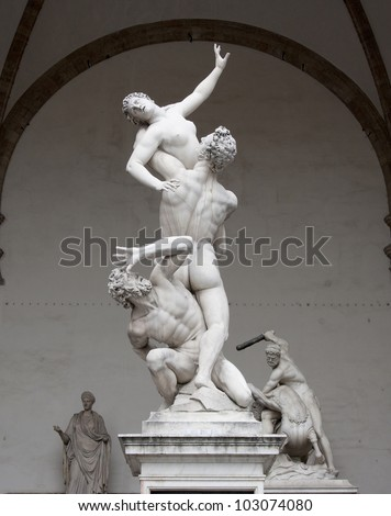 "Italy, Florence. Sculptural compositions ""The Rape of the Sabine Women"" and ""Hercules and the Centaur"" sculptor Giambologna in the loggia Lanzi"