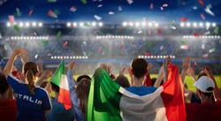 Italy football supporter on stadium. Italian fans on soccer pitch watching team play. Group of supporters with flag and national jersey cheering for Italia. Championship game. Forza Azzurri!