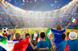 Italy football supporter on stadium. Italian fans on soccer pitch watching team play. Group of supporters with flag and national jersey cheering for Italia. Championship game. Forza Azzurri