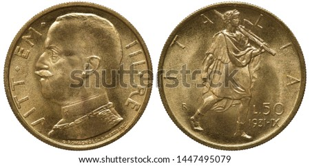 Italy Italian golden coin 50 fifty lire 1931, uniformed bust of King Vittorio Emanuele III left, man with fascine and hatchet striding right,