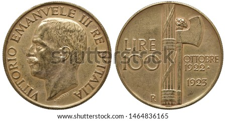 Italy Italian golden coin 100 one hundred lire 1933, subject 1st Anniversary of Fascist Government, head of King Vittorio Emanuele III left, denomination left to fascine and hatchet, two dates at righ #1464836165