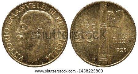 Italy Italian golden coin 20 twenty lire 1933, subject 1st Anniversary of Fascist Government, head of King Vittorio Emanuele III left, denomination left to fascine and hatchet, date at right, #1458225800