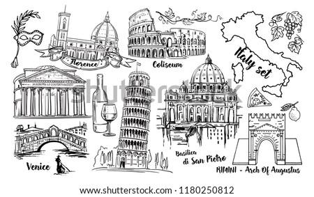 Italy Landmark  Sketch Set. Coliseum, bridges Venice, Tower Pisa, Vatican, Rimini, Arch Augustus, Santa Maria del Fiore, Florence, Saint Pietro Basilica, Rome, Pantheon and Italy map isolated
