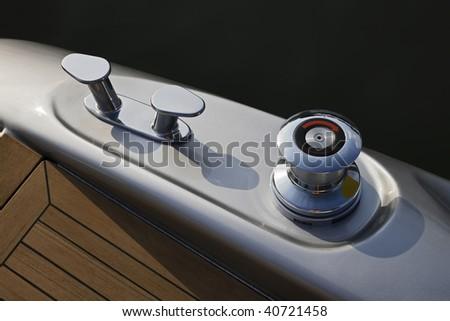 ITALY, Lazio, Fiumicino/Rome, luxury yacht Alfamarine 60', winch