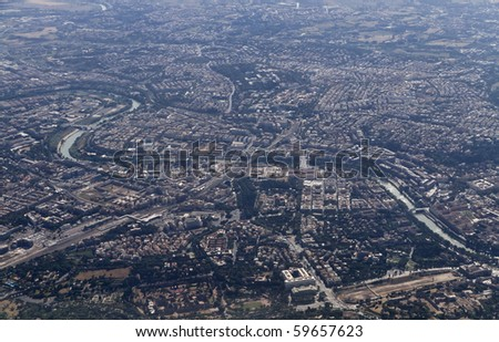 Italy, Lazio, Rome, aerial view of the city and the Tevere river