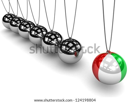 ITALY leadership. Leadership among branched ALL COUNTRIES. The ITALY flag on the ball. Metal Newton's cradle  ball isolated on white background. Balancing balls Newton's cradle. Concept business