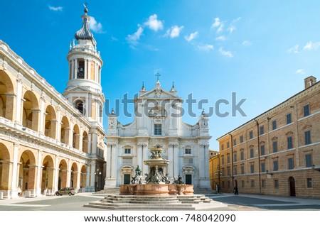 Italy, Loreto,  Sanctuary of the Santa Casa, view of the Basilica and the Apostolic Palace