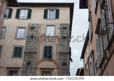 Italy, Lucca - September 18 2016: the detailed view of old building in Lucca   #716131594