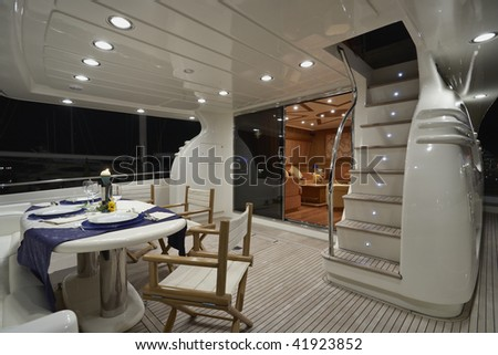 Italy, luxury yacht, Fiumicino, Rome, Rizzardi Technema 65', backboard, dinette and stair to the flybridge