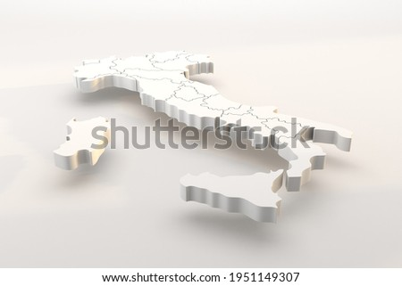 Italy map a 3d render isolated with white italian regions. Italia in zona bianca, pandemia, covid Foto stock ©