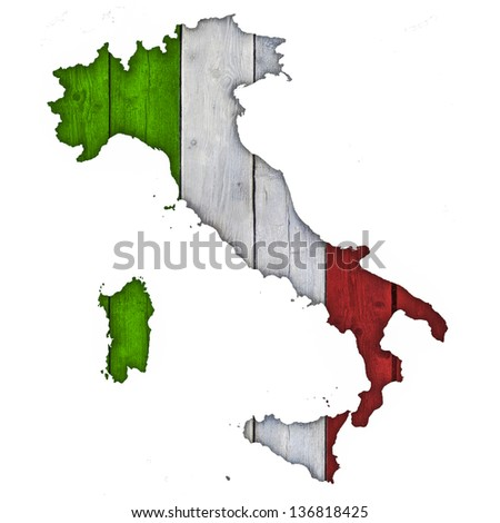 Italy Map and Flag on Wood - stock photo