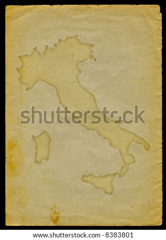 Italy map engraved on a old paper page clipping path of the map is included