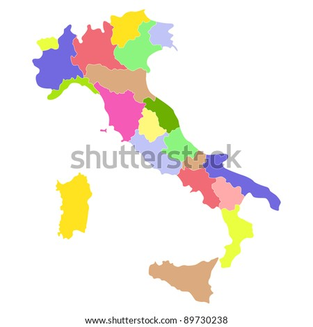 Italy map isolated on a white background.