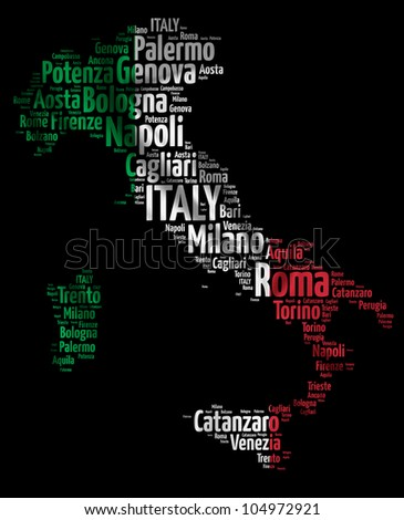 ITALY map words cloud of major cities with a black background