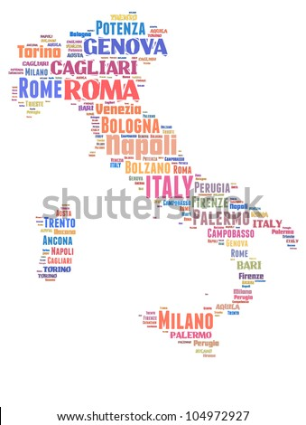 ITALY map words cloud of major cities with a white background
