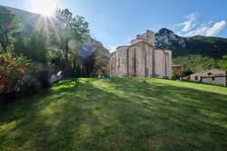 Italy. Marche. Ancona. San Vittore alle Chiuse. Roman Catholic abbey and church. The edifice is known from the year 1011.